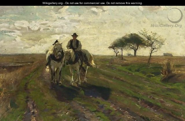 A Farmer With Two Horses In A Landscape. - German School