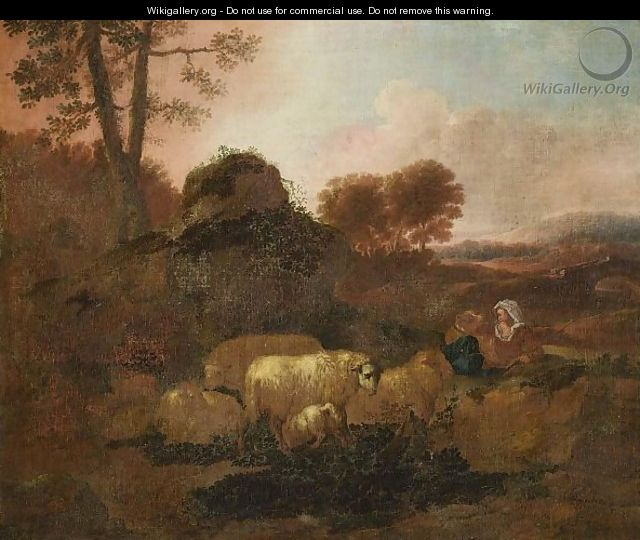 A Pastoral Landscape With A Shepherd Tending His Flock Near A Path - (after) Alexandre-Louis-Robert-Millin Duperreux
