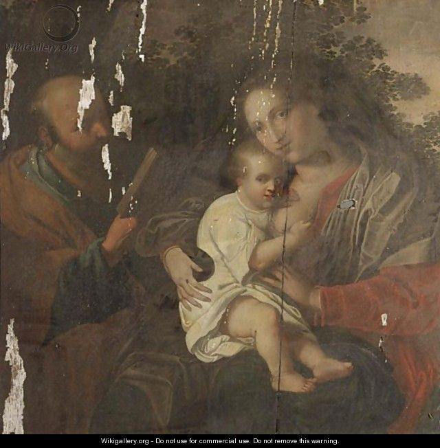 The Holy Family In A Landscape - Antwerp School