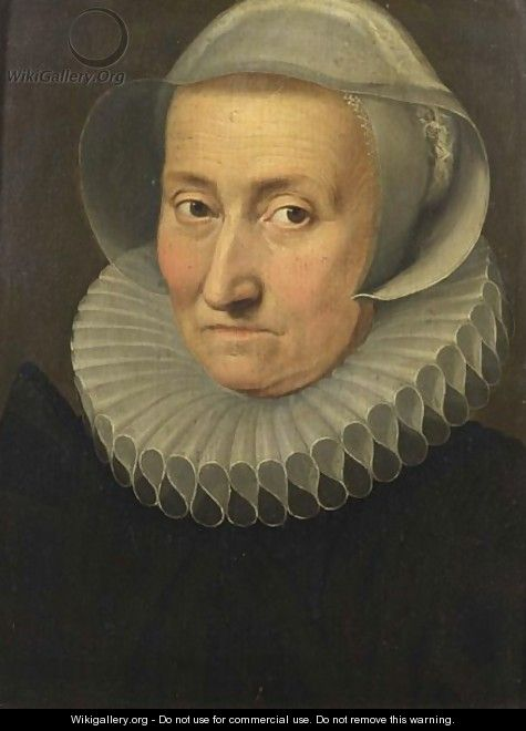 A Portrait Of A Lady, Said To Be Maria Pypelinckx, Bust Length, Wearing A Black Dress, A White Lace Collar And A White Headdress - Flemish School