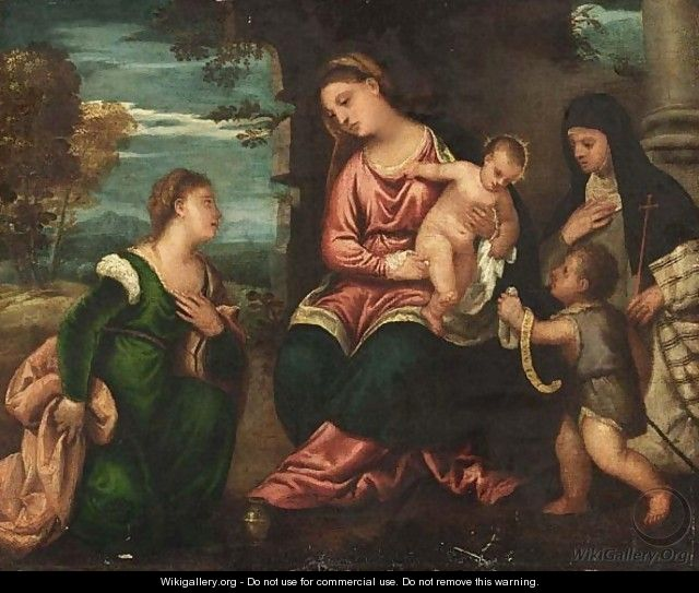 The Madonna And Child With Saint Mary Magdalene, Saint Elizabeth And The Infant Saint John The Baptist - Polidoro De Renzi