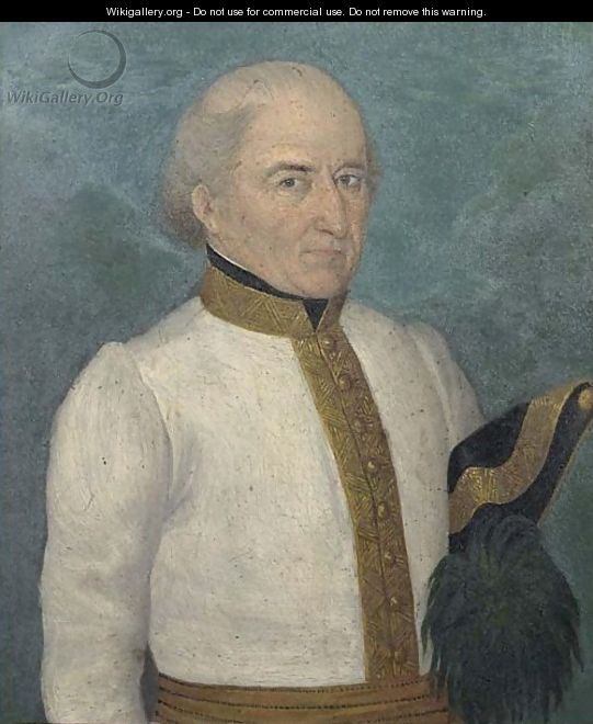 A Portrait Of An Officer, Standing Half Length, Wearing A White Uniform With Gilt Ornament, Holding A Black And Gold Three-Cornered Hat Under His Arm - Austrian School