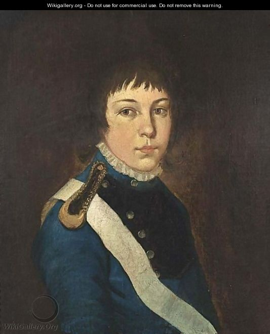 A Portrait Of A Young Officer, Bust Length, Wearing A Blue Coat With A White Collar And A White Sash - French School