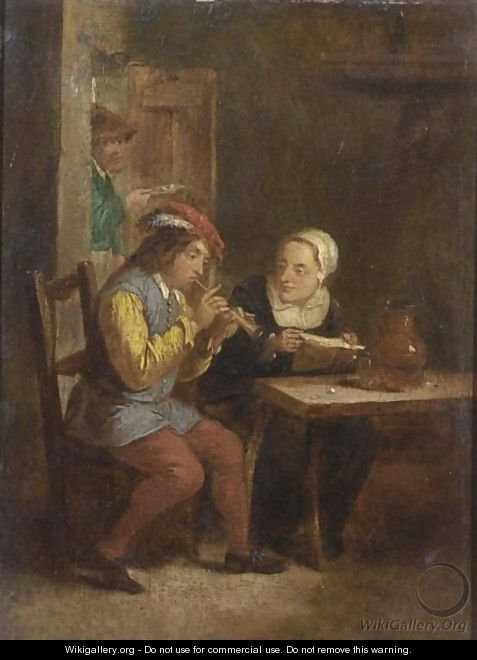 A Peasant Playing A Recorder And A Peasant Woman Listening In An Inn - (after) David The Younger Teniers