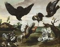 A Cockerel, Hens And Chicks Attacked By Hawks - (after) Paul De Vos