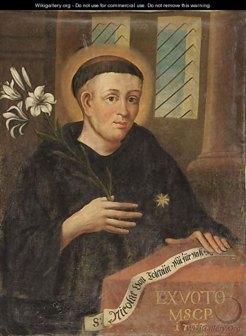 Saint Nicholas Of Tolentino, Wearing A Black Habit And Holding A Lily In His Hand - German School