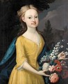 Portrait Of A Young Girl With Bouquet Of Flowers - English School
