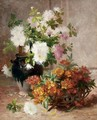 A Vase And A Basket Of Flowers - Eugene Henri Cauchois