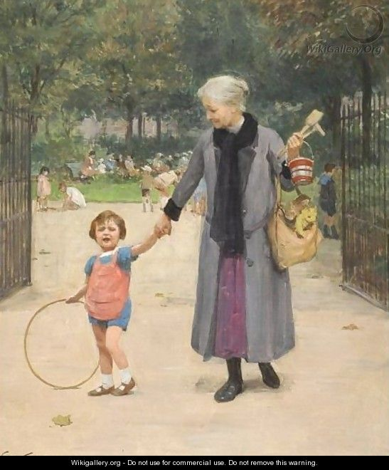 In The Park With Grandmother - Victor-Gabriel Gilbert