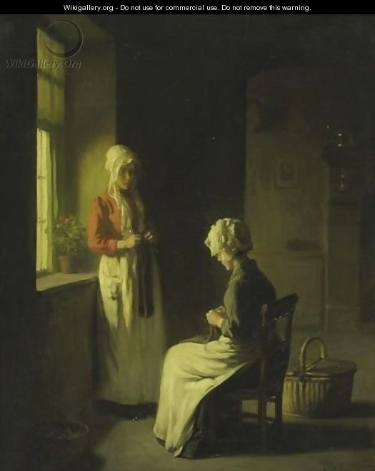 Sewing By The Window 2 - Claude Joseph Bail