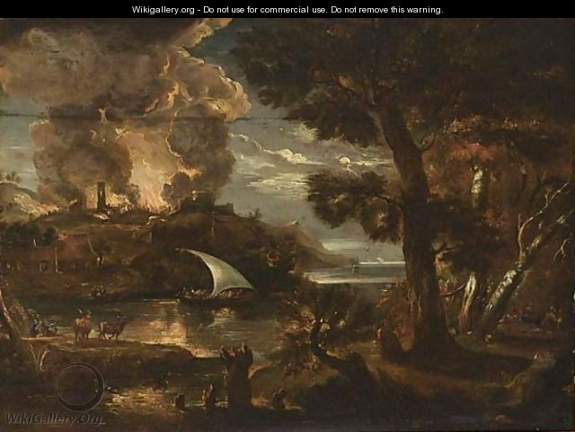 A River Landscape With A Burning Town On A Hilltop - German School
