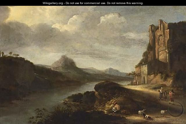 An Extensive Italianate River Landscape With Figures Resting Near Ruins - Claes Molenaar (see Molenaer)