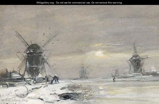 Windmills In A Winter Landscape - Louis Apol