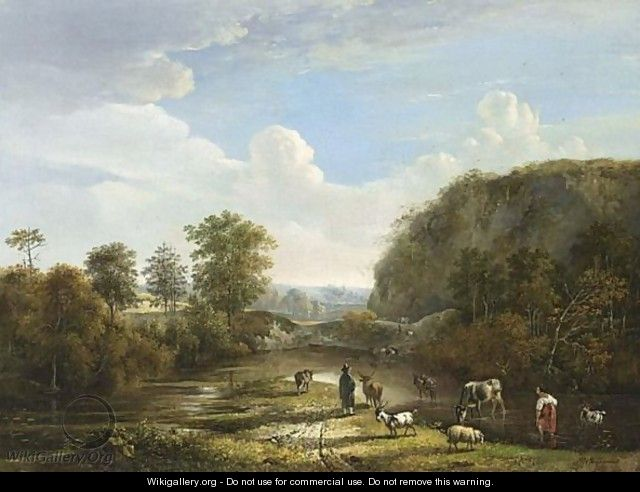 Herdsman Wading With Their Cattle In A Stream In A Hilly Landscape - Belgian School