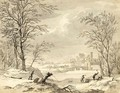 A Winter Landscape With Woodcutters - Dutch School