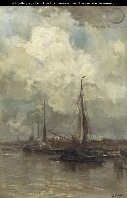 Moored Sailingboats - Jacob Henricus Maris