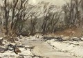 A Wooded Winter Landscape - Louis Apol