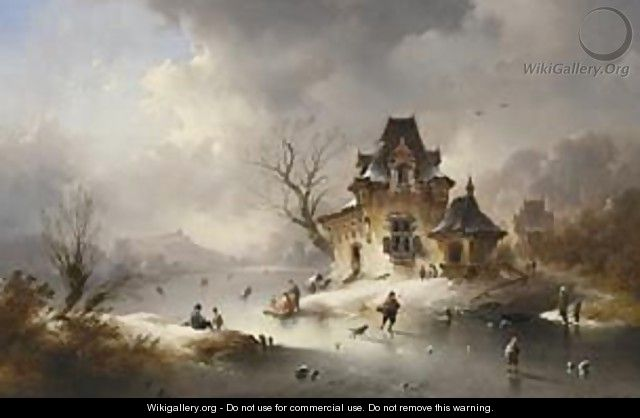 A Winterlandscape With Skaters On A Frozen Waterway - Charles van den Eycken