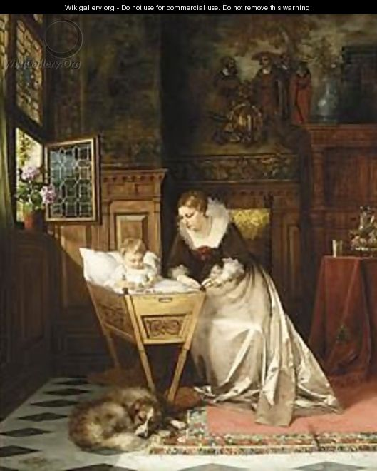 An Elegant Lady And Her Baby In An Interior - Max Todt