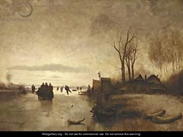 A Winter Landscape With Skaters Near A A