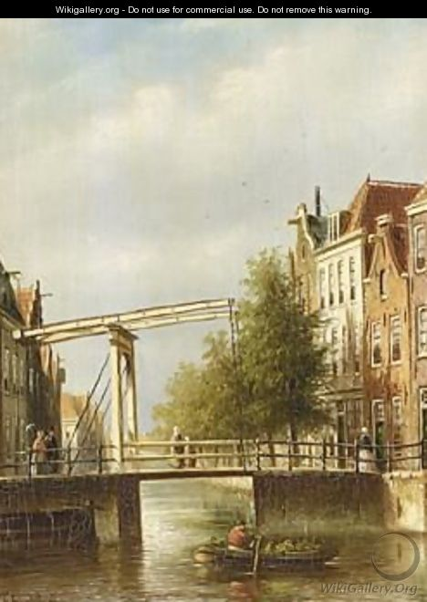 A Dutch Town With Figures Near A Drawbridge - Johannes Franciscus Spohler