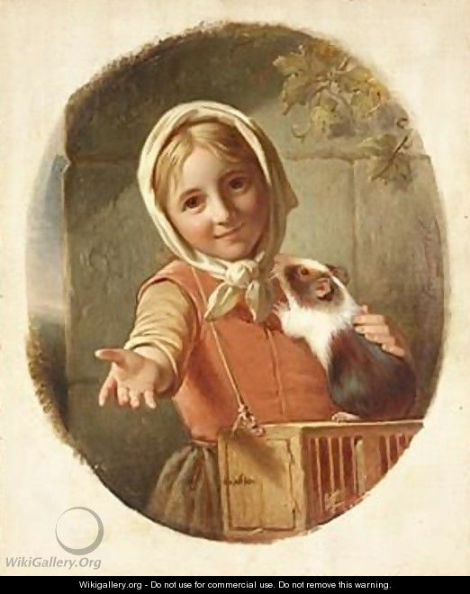 Portrait Of A Girl With A Guinea Pig - Jan Adam Janszoon Kruseman