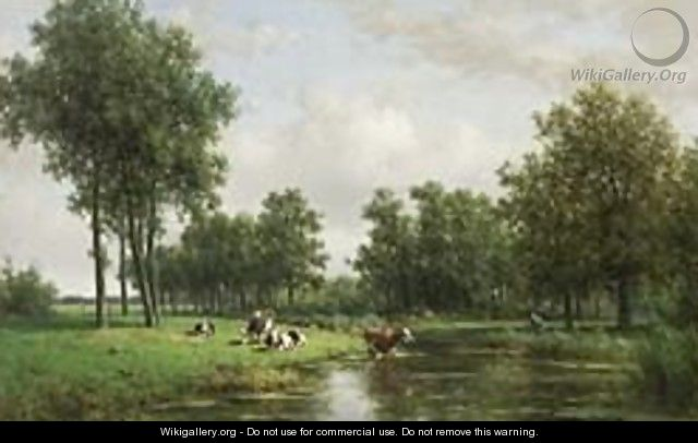 A Peasant With Cows In A Summer Landscape - Willem Vester
