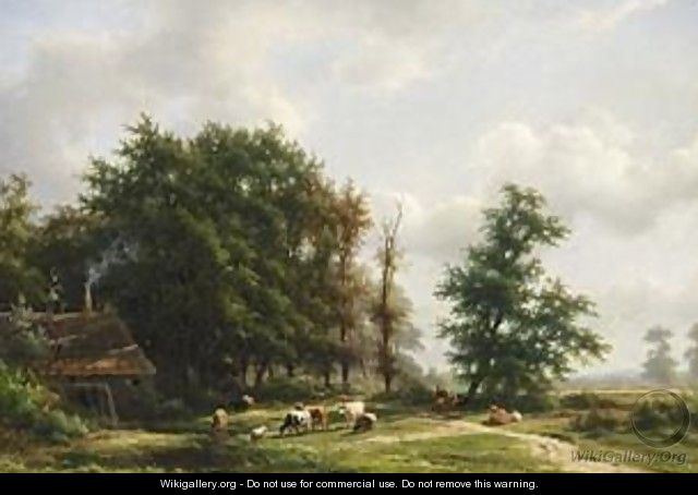 Cows Near A Windmill In A Wooded Landscape - Jan Frederik Van Deventer