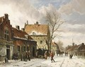 A Town Scene In Winter - Adrianus Eversen