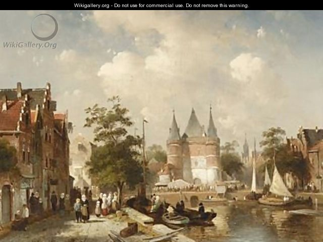 A Busy Canal Scene In A Dutch Town - Charles Henri Leickert