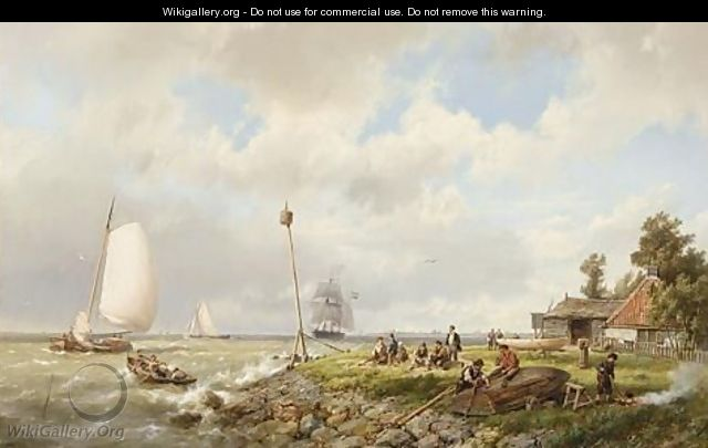 A Coastal Scene With Figures Repairing A Boat - Hermanus Koekkoek