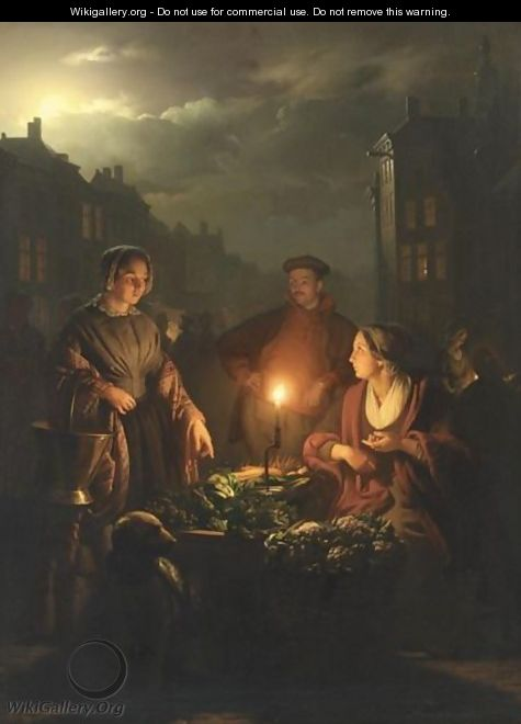 An Evening Market - Petrus Van Schendel