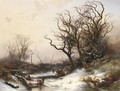 Wood-Gatherers In A Snowy Landscape - Pieter Lodewijk Francisco Kluyver