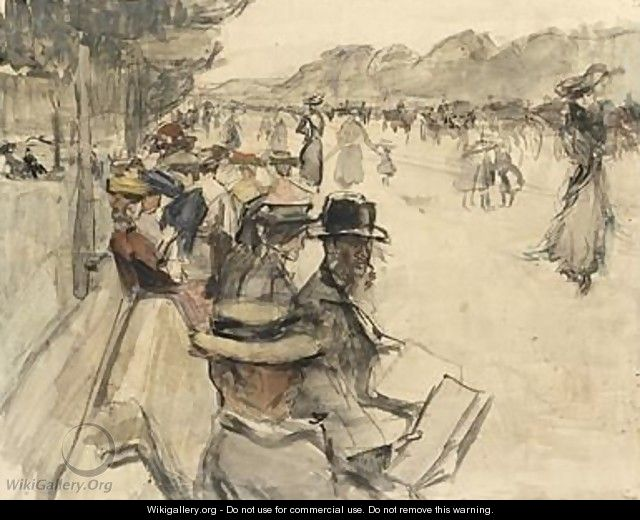 Reading And Strolling Figures In The Bois De Boulogne - Isaac Israels