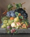 Grapes And Other Fruit On A Ledge - Amalie Kaercher