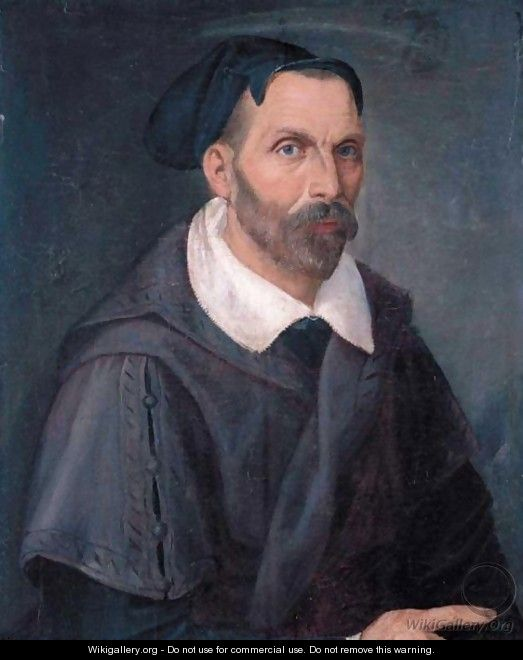Portrait Of A Bearded Man, Half Length, In A Plum-Coloured Cloak With A White Collar And Black Cap - Florentine School