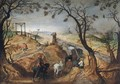 A Wooded Landscape With Farmhands And Cattle - (after) Sebastiaen Vrancx
