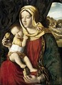 Madonna And Child Seated Before A Curtain, A Landscape Beyond - (after) Giovanni Bellini