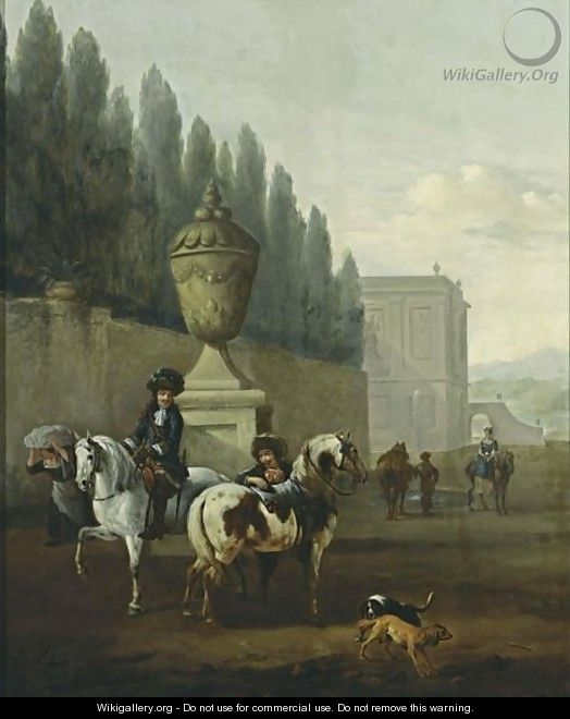 A Landscape With Two Horsemen And Two Dogs Near A Walled Garden, Other Horsemen In The Background Near A Palace - Pieter Wouwermans or Wouwerman