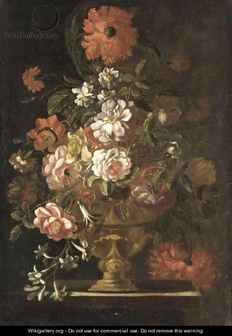 A Still Life Of Various Flowers In Vase Resting On A Ledge - Italian School