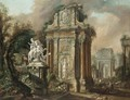 Architectural Capriccio With Figures And An Equestrian Statue Amongst Classical Ruins - North-Italian School
