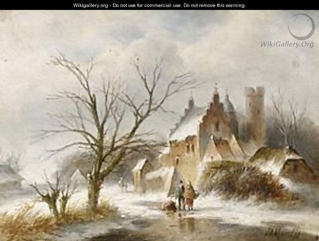 A Winter Landscape With Figures On A Frozen Waterway - Jan Evert Morel