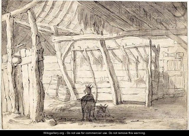 A Barn Interior With Two Goats - (after) Cornelis Saftleven
