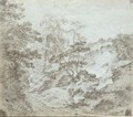 A Rocky Wooded Valley With Figures Ascending A Steep Path - Dutch School