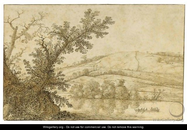 Wooded River Landscape With A Rowing Boat, And Hills Behind - Cornelis Hendricksz. The Younger Vroom