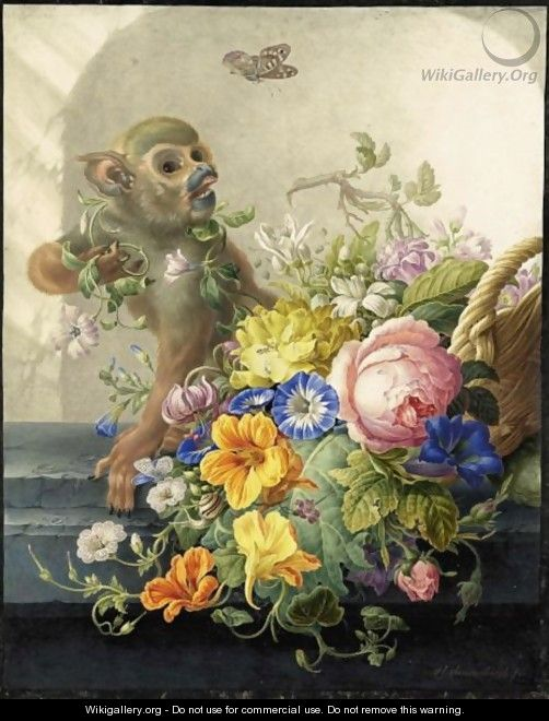 Still Life With A Monkey And A Basket Of Flowers On A Stone Ledge - Herman Henstenburgh