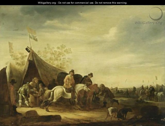 Click here to download image & An Encampment With Soldiers Near A Tent And Horsemen Nearby Other ...