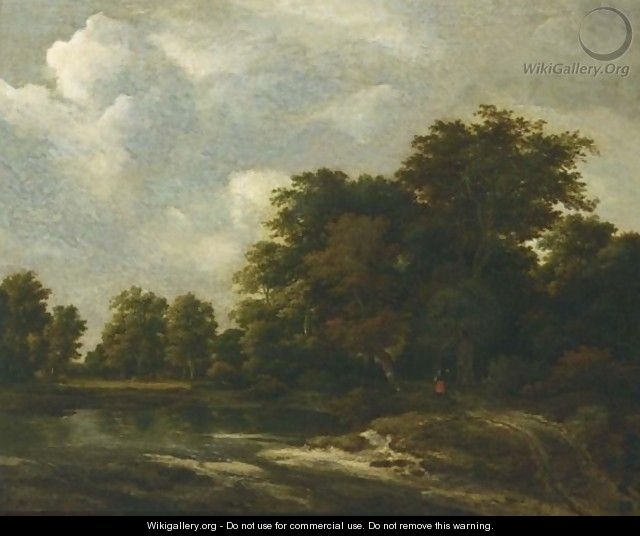 A Wooded Landscape With A Pond And Figures On A Path Near Trees - Jacob Van Ruisdael