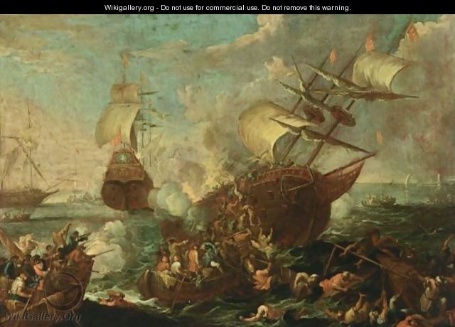 A Naval Battle Scene With Ottoman And Christian Soldiers Fighting Aboard A Ottoman Ship, Other Shipping Beyond - Cornelis de Wael