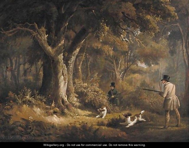 Two Gentlemen With Their Spaniels Pheasant Shooting - Edward Duncan